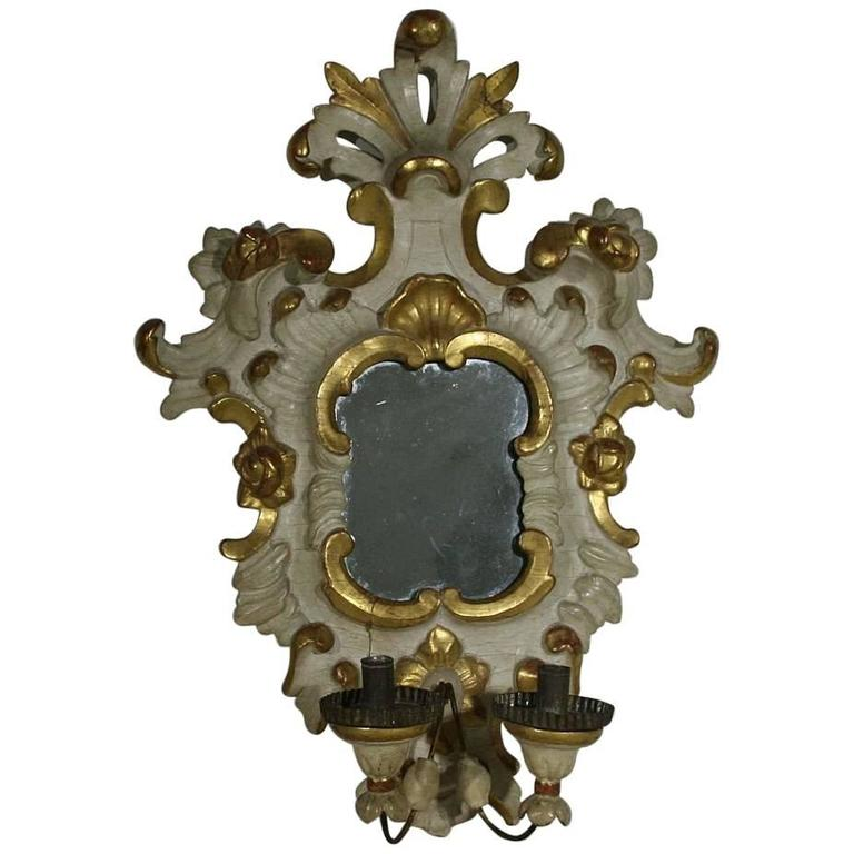 Italian 18th Century Carved  Wooden Baroque Girandole Mirror with Sconce