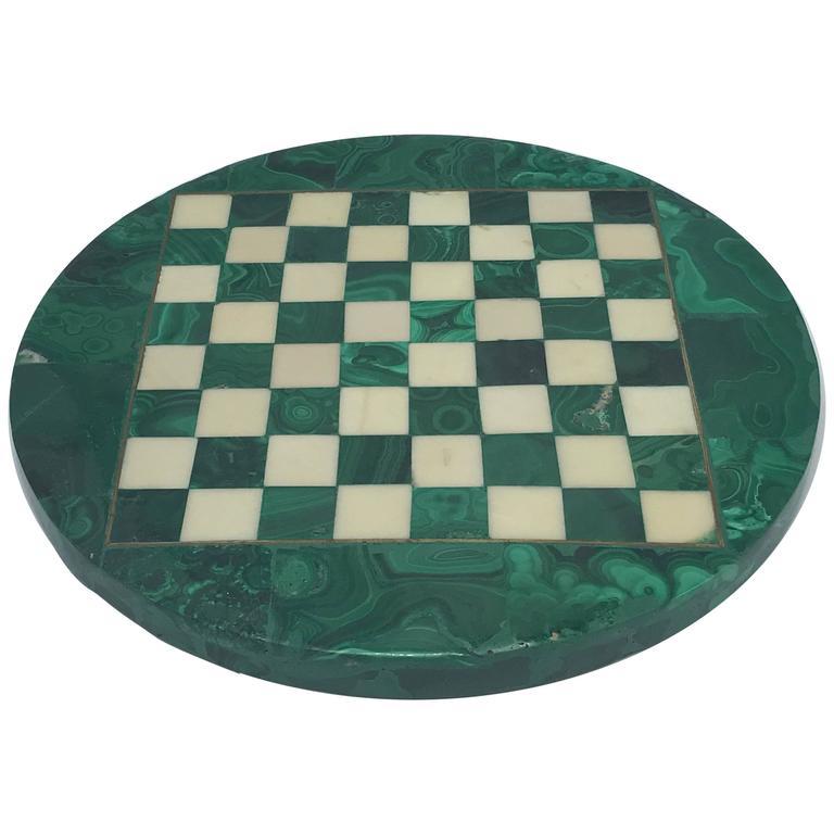 1960s Italian Malachite and Brass Inlay Chessboard Cheeseboard Plate