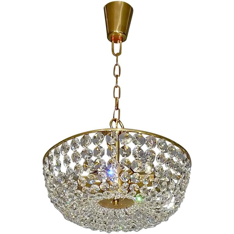 Sparkling Cut Crystal Glass and Brass Basket Chandelier Bakalowits Austria 1960s For Sale
