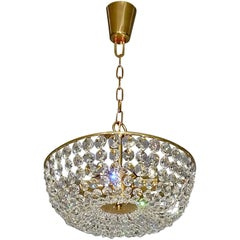 Sparkling Cut Crystal Glass and Brass Basket Chandelier Bakalowits Austria 1960s