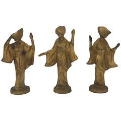 1950s Gilded James Mont Style Cast Iron Dancing Geisha Figures, Set of Three