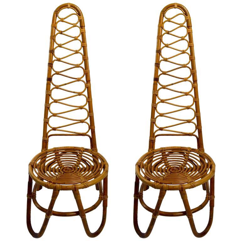 Rare Pair Dirk Van Sliedregt Rohe Noordwolde  High Back Bamboo Chairs