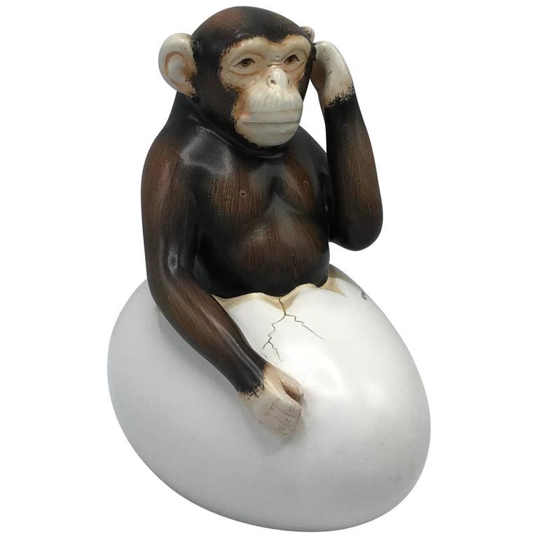 1970s Sergio Bustamante Hatching Chimp Sculpture