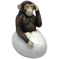 1970s Sergio Bustamante Hatching Chimp Sculpture
