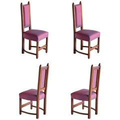 Set of Four Amsterdam School Dining Chairs Newly Upholstered in Hermès