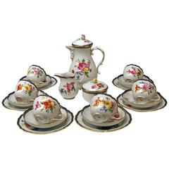 Meissen Coffee Set Decor Flower Bouquet Nr.111120 Six Persons, 20th Century