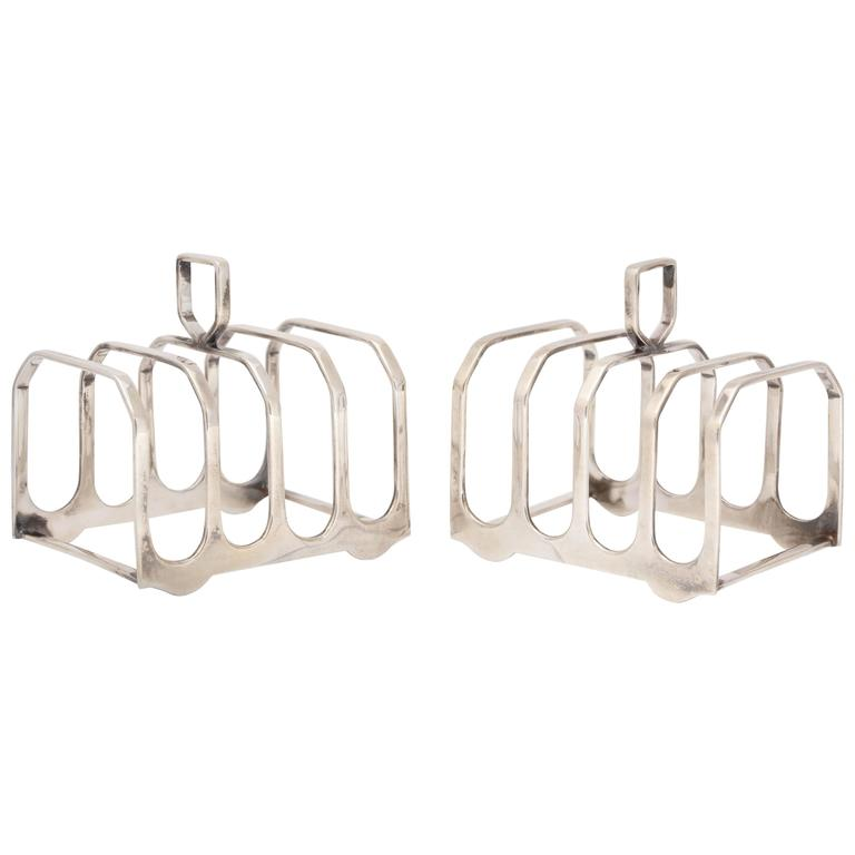Edwardian-Style Pair of Sterling Silver Toast Racks For Sale