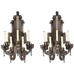 Brutalist Sconces Pair of Hand-Wrought Polished Iron