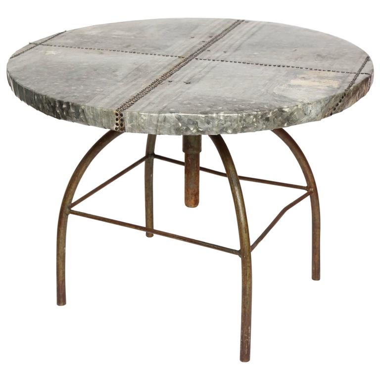 Brutalist Table with Handcrafted Metal Top and Industrial Adjustable Base For Sale