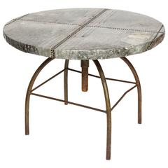 Brutalist Table with Handcrafted Metal Top and Industrial Adjustable Base