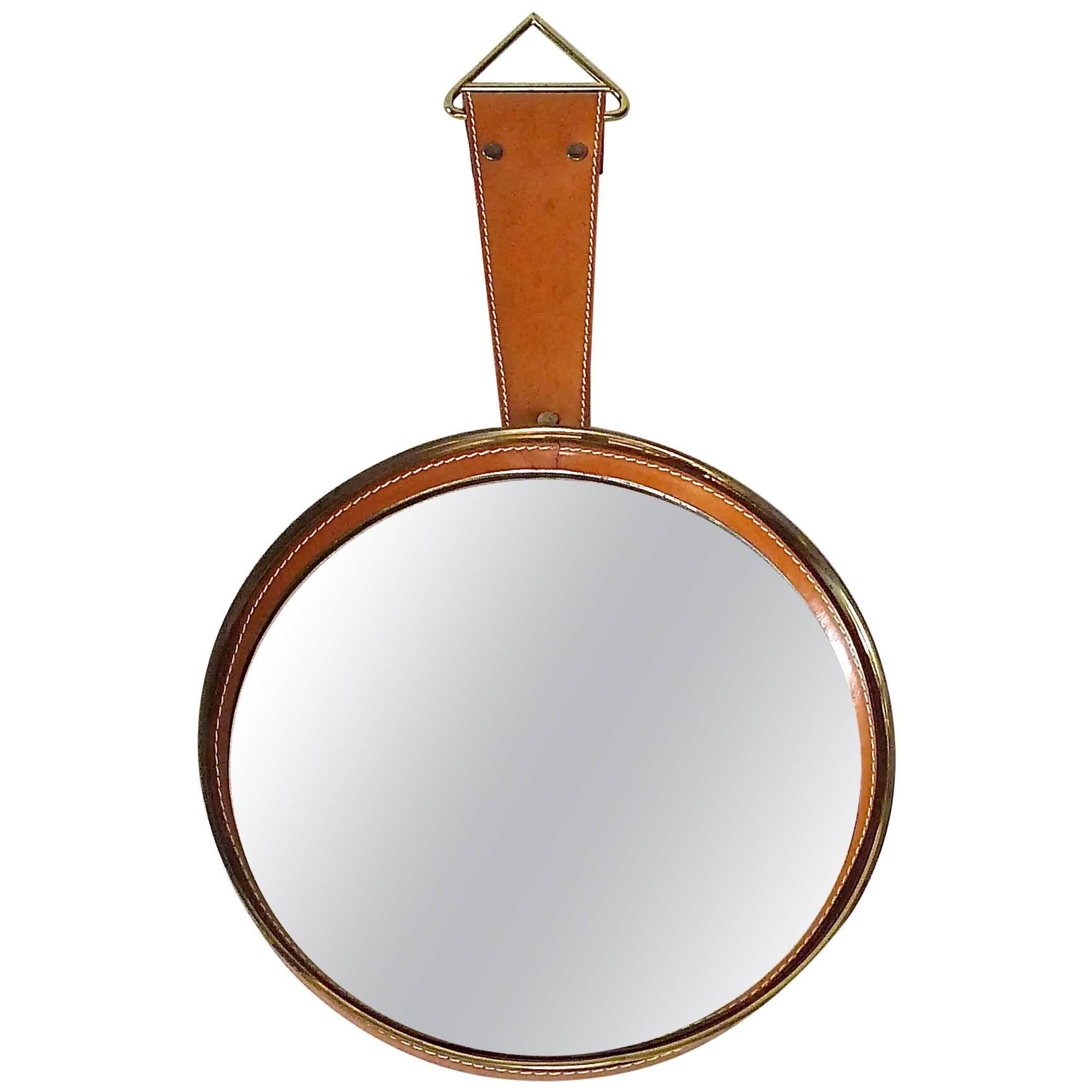 Round Midcentury Wall Mirror Brass Brown Stitched Leather French Adnet Style