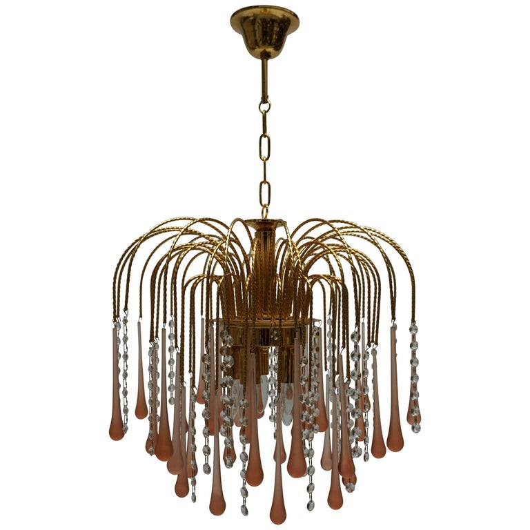 One of Two Italian Brass and Murano Glass Teardrop Chandelier For Sale