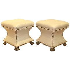 Pair of Maitland Smith Leather Benches with Brass Feet