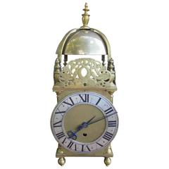 Large Antique Brass Lantern Clock