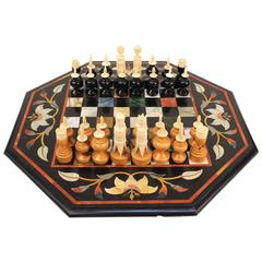 Italian Pietra Dura Chess Board with Semi-Precious Stone