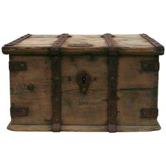 18th Century Swedish Wooden Travel Box / Chest