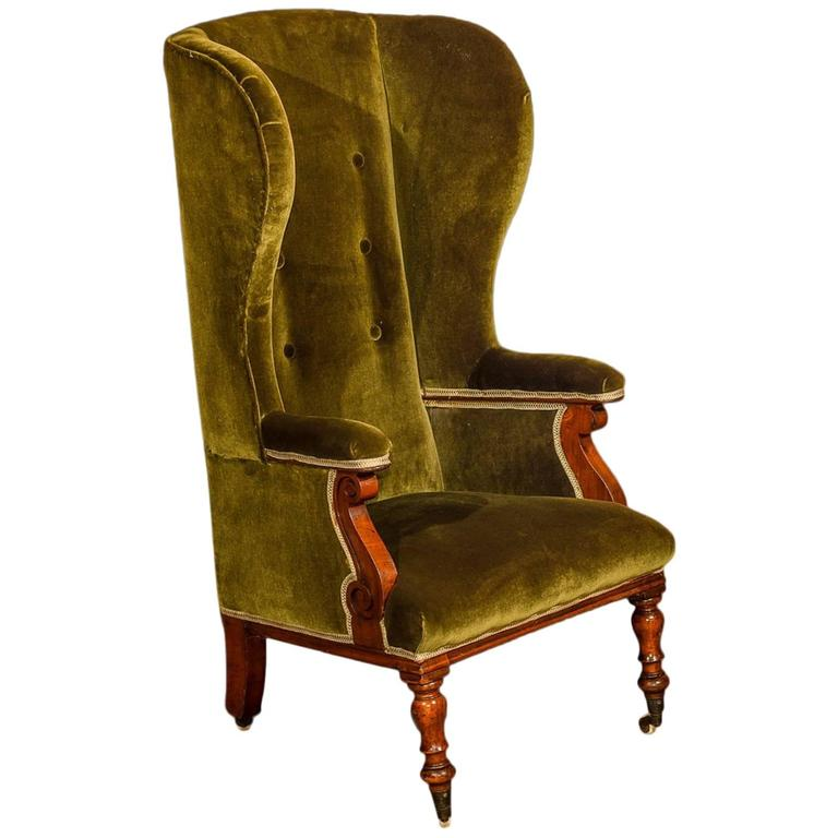 Antique Wing Back Chair, Victorian, Green Velvet, circa 1850 For Sale