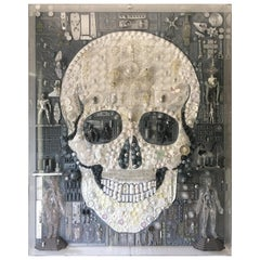 "Huge Acrylic Boxed Art by Rosello ""Skull"""