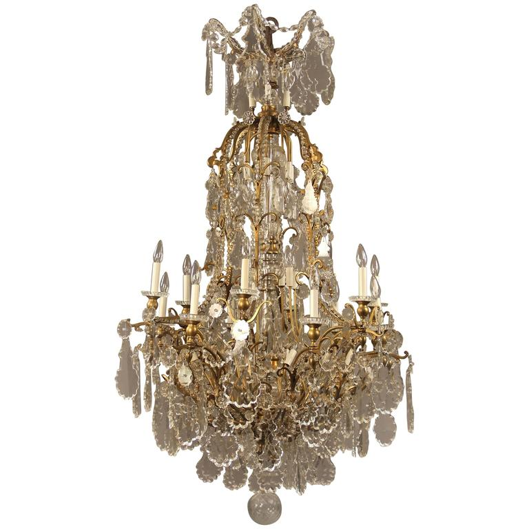 Palatial and Rare 19th Century Gilt Bronze and Baccarat Crystal Chandelier