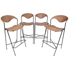 Set of Arthur Umanoff Slat Bar Stools