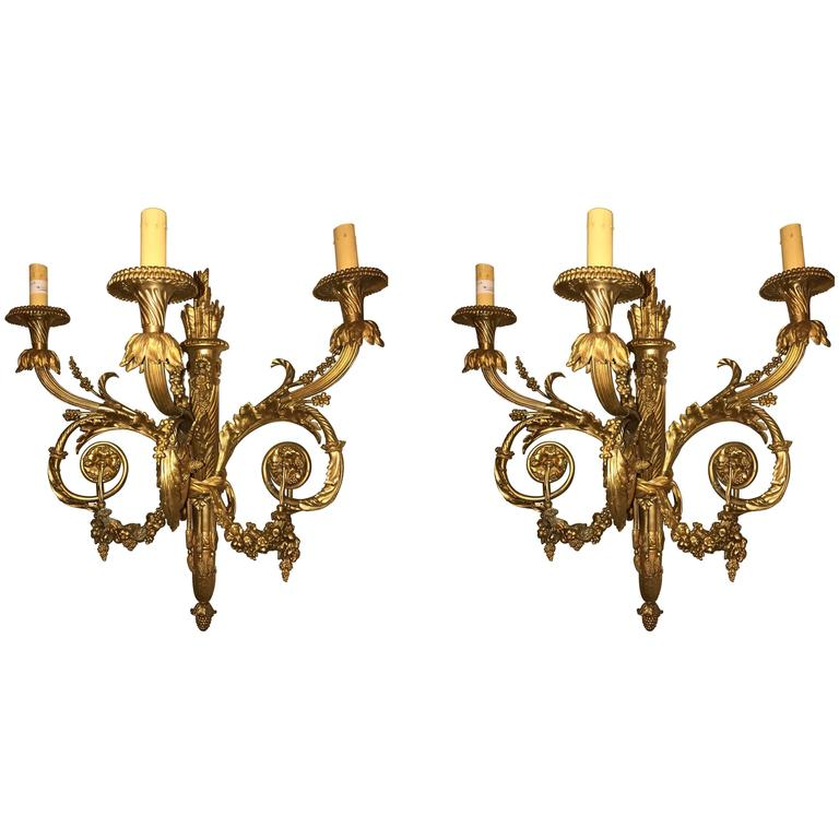 Pair of Monumental Three-Light Sconces Solid Bronze Louis XVI Style