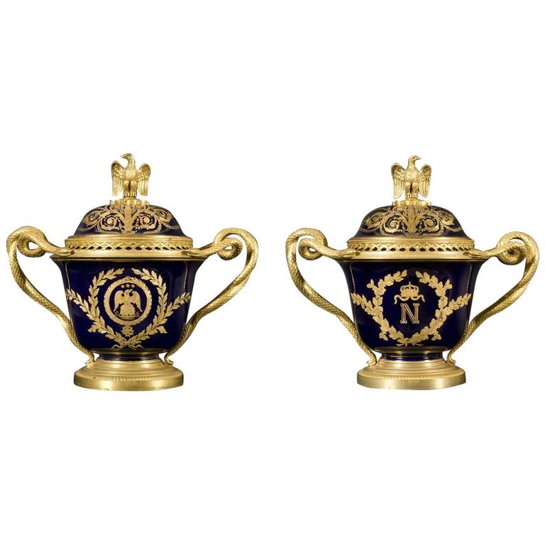 Pair Of Napoleon III Sevres Porcelain Cobalt Blue Vases