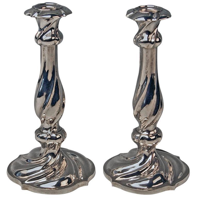 Silver 13 Lot Pair of Austrian Biedermeier Candlesticks Franz Schiffer Vienna 1