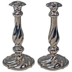 Silver 13 Lot Pair of Austrian Biedermeier Candlesticks Franz Schiffer Vienna