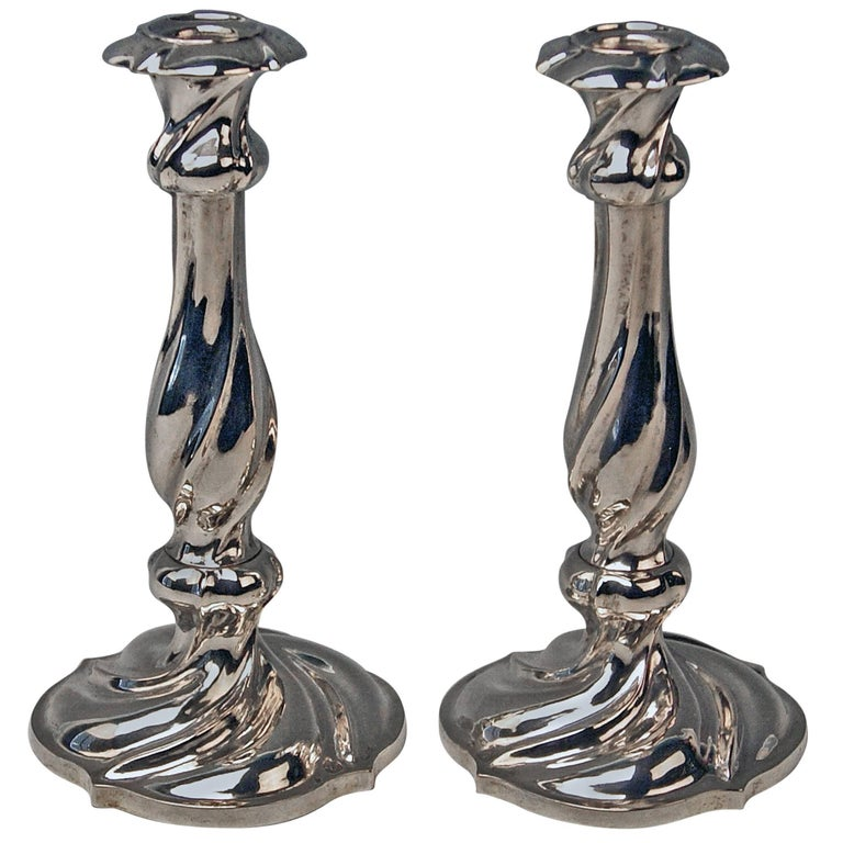 Silver 13 Lot Pair of Austrian Biedermeier Candlesticks Franz Schiffer Vienna For Sale