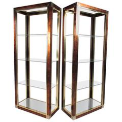 Pair of Mastercraft Style Lacquered Metal Etageres