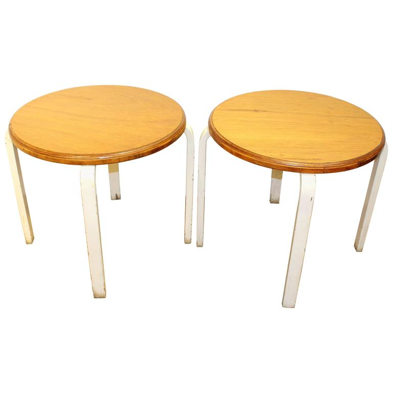 Pair of Alvar Aalto Tables with Steam Bent Legs