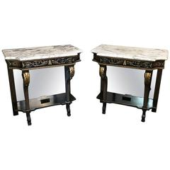 Pair of 19th Century French Napoleon III Marble-Top Consoles