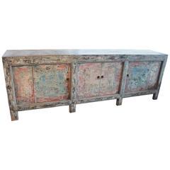 Antique Elm Server in Original Paint Patina