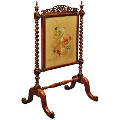 Victorian Rosewood Antique Fire Screen, circa 1850