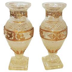 Beautiful Large Pair Baccarat Cut Crystal Ormolu-Mounted Regency Pedestal Vases