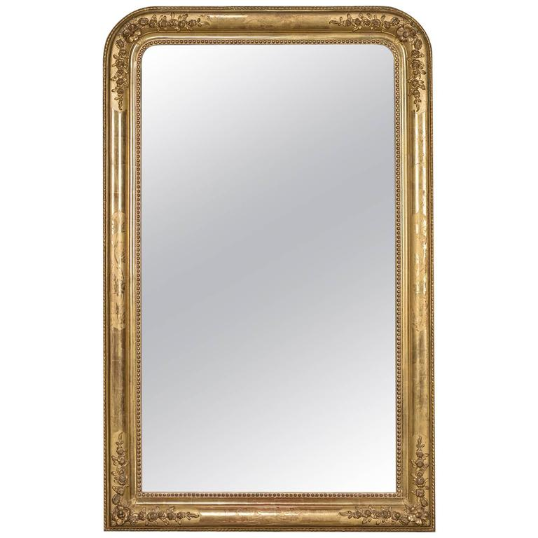 Antique French Louis Philippe Gold Leaf Mirror, circa 1870