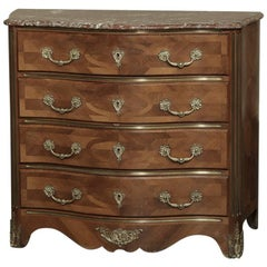 19th Century French Louis XIV Marble-Top Commode with Marquetry