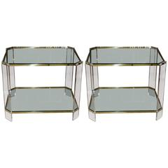 Pair of Mid-Century Brass, Glass and Lucite Side Tables
