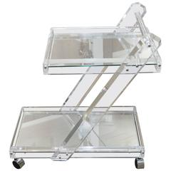 Mid-Century Lucite Tea Cart with Two Mirrored Shelves