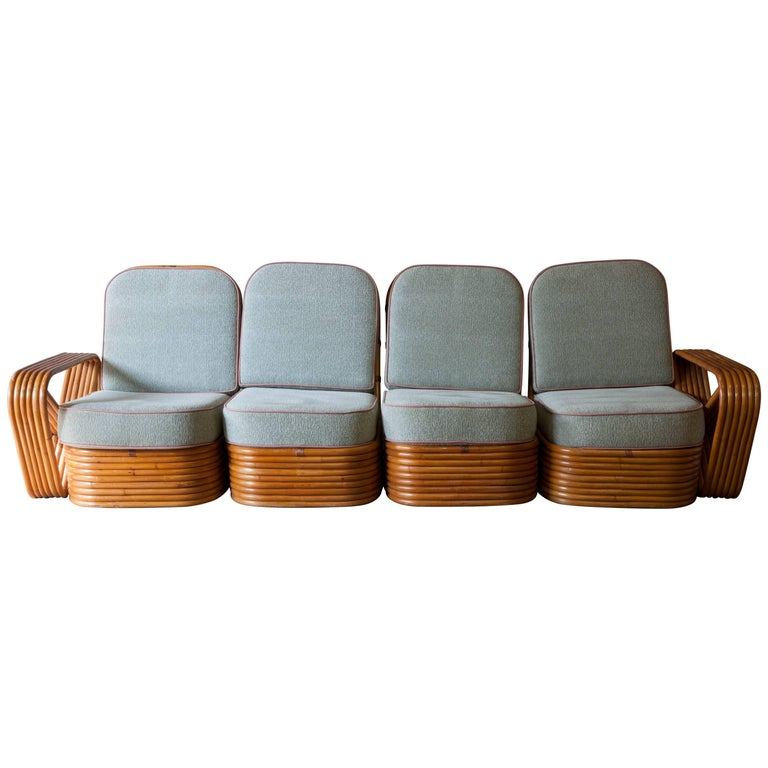 Rattan Paul Frankl Style Pretzel Sofa For Sale
