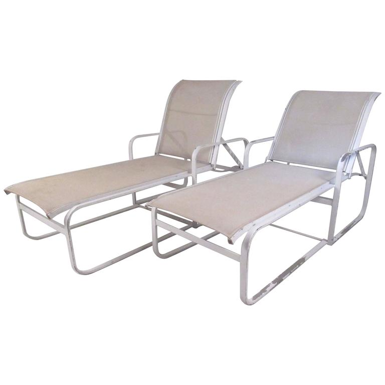 Pair Of Woodard Patio Recliner Chaise Lounge Chairs For Sale