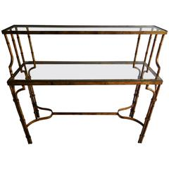 1950s Faux Bamboo Tiered Console