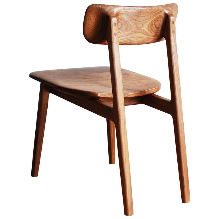 C01, Side Chair with Sculpted Solid Wood Seat and Back, Oiled Walnut