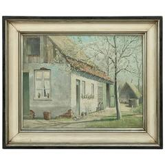 Framed Oil Painting on Canvas of Bornem by Vercammen Dated 1963