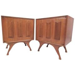 Pair of Vintage Modern Sculpted Front Nightstands