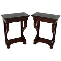 Pair of Antique Mahogany and Marble Side Tables