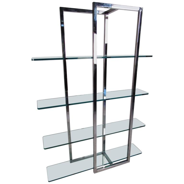 modern chrome and glass four shelf tag re for sale at 1stdibs. Black Bedroom Furniture Sets. Home Design Ideas