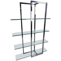 Modern Chrome and Glass Four Shelf Étagère
