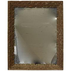 17th Century Spanish Wood Carved Frame with Hints of Plaster and Later Mirror