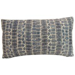 Vintage Indian Hand-Blocked Blue and White Decorative Lumbar Pillow